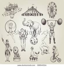 circus vintage vector illustrations set hand stock vector