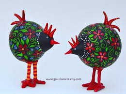 rooster and hen gourds by devon cameron www gourdament etsy com