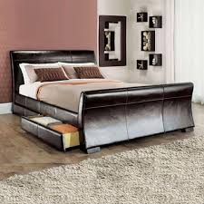 Black Leather Sleigh Bed Rimini 4 Drawers Leather Storage Sleigh Bed Luxury Leather Beds