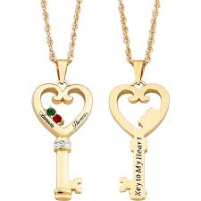Engraved Necklaces For Couples Personalized 14kt Gold Plated Couples Name U0026 Birthstone Heart Key