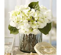 hydrangea arrangements faux white hydrangea arrangement in glass vase pottery barn