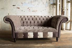 Chesterfield Sofa Patchwork Handmade Modern 2 Seater Mink Beige Fabric Half Patchwork