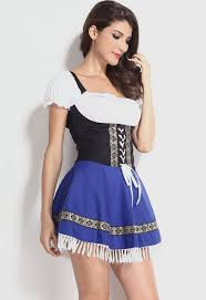 wholesale pretty serving wench costume in black blue white