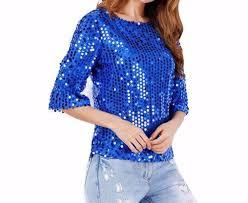 royal blue blouse top s sparkling royal blue the shoulder glamourous sequin