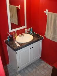 candy apple red color paint on our bathroom walls