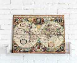 Canvas Map Of The World by Map Canvas Hondius World Map From Love Maps On