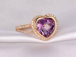 amethyst diamond engagement ring 3 75ct heart shaped amethyst and diamond engagement ring 14k rose