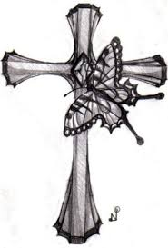 gorgeous butterfly and cross design picture tattoomagz