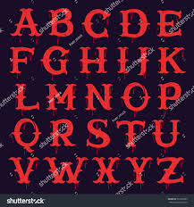 vintage slab serif alphabet blood splashes stock vector 522522283