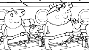 peppa pig flying on holiday coloring book pages and drawing