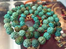 round turquoise necklace images Authentic antique old vintage carved rare chinese turquoise beads jpg