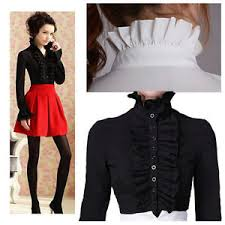 high neck ruffle blouse retro high neck frilly womens vintage ruffle top