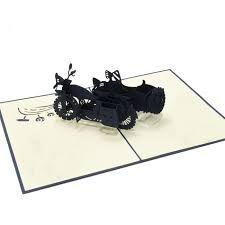 sidecar motorcycle pop up card birthday 3d greeting cards
