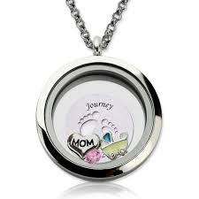 charm locket necklace images Engraved baby feet floating charm circle locket for mom jpg