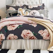 the emily u0026 meritt bed of roses duvet cover sham black u0026 blush