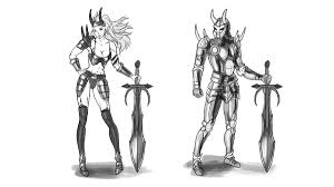 how to design and draw a realistic female warrior