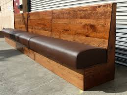 Dining Benches With Backs Upholstered Long Brown Wooden Dining Bench With Dark Brown Leather Seat Plus