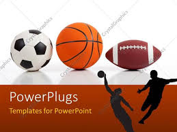 powerpoint template sports equipment on white including a