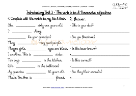 printable grammar worksheet c a possessive adjectives iu3