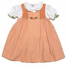 ami baby toddler orange gingham smocked fall squirrels dress