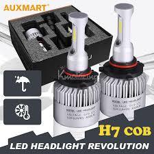 auxmart h7 72w cob led car headlight bulb pure white 6500k 8000lm