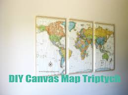 Diy World Map by Latte Love Diy World Map Wrapped Canvas Triptych