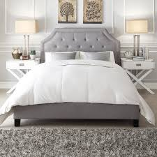 light grey upholstered bed inspire q grace grey linen button tufted arched bridge upholstered