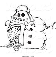 cartoon vector of cartoon boy putting a head on a snowman