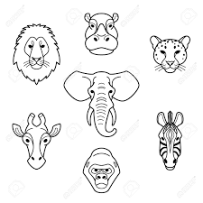 african animals in flat style line head of elephant lion zebra