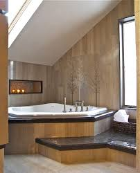 corner tub ideas bathroom contemporary with alcove brown tub deck