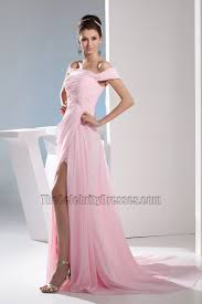 pink chiffon off the shoulder prom dress evening gown