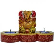 wooden ganesha candle stand indian handicrafts home decor products