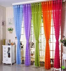 Masculine Curtains Decor Colorful Window Curtains For Living Room And Rainbow Sheer Effect