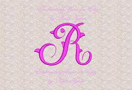 vintage style monogram letter r machine embroidery design