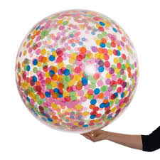giant rainbow bright confetti filled balloon by bubblegum balloons