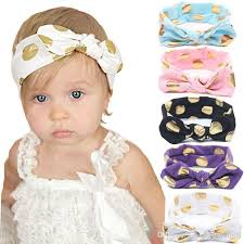summer hair accessories baby gold polka dots cotton headband children knotted bow