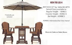 Adirondack Bar Stools Poly 33 U2033 Square Bar Height Table And Adirondack Swivel Bar Stool