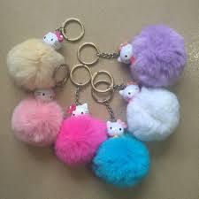50cpcskawaii cute hello kitty keychains kt cat trendy real rabbit