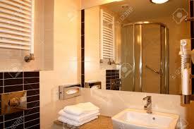 modern hotel bathroom modern exclusive hotel bathroom interior mirror reflection stock