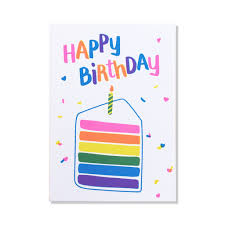 rainbow birthday cake card anne and kate bold screen printed