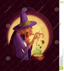 a witch with a cauldron cooking witch poison or potion in a