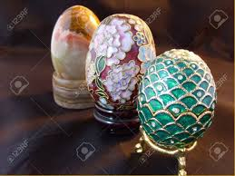 decorative eggs three decorative eggs in faberge cloisonne and onyx style stock