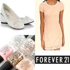 forever 21 forever 21 peach lace pearl collar tea dress from