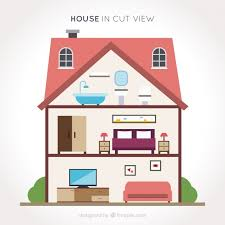 House Flat Design Download Vector Interior View Of Nice House In Flat Design