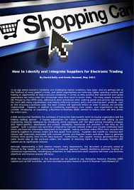 how to identify and integrate suppliers for electronic trading