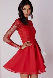 red lace dress with sleeves naf dresses