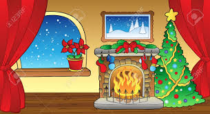 drawn fireplace christmas tree fireplace pencil and in color