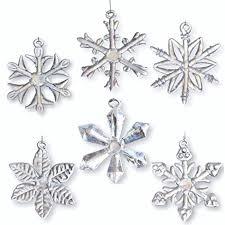 glass snowflake ornaments set of 6 iridescent