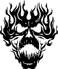 flaming skull decal ebay