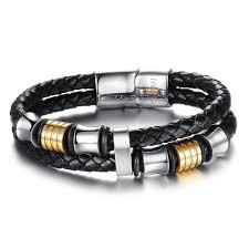 bracelet leather man silver images Ostan men 39 s braided leather bracelet silver gold jpg